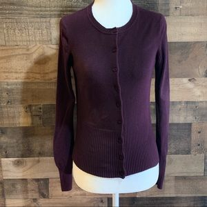 Express Plum Purple Long Sleeve Cardigan Sweater